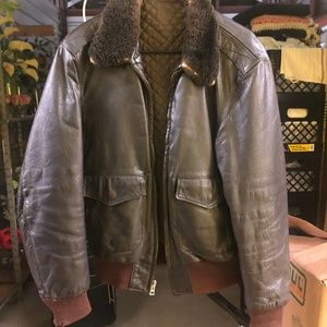 Vintage Brown Leather Jacket with Fur Collar